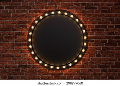 3D render Marquee light circle board sign on brick wall backgrou