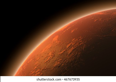 A 3D render of mars planet with the sun backlighting it on and lit up colonized settlement area illuminating on the surface on a dark isolated background