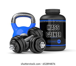 3d render of mass gainer with dumbbells and kettlebell isolated over white background