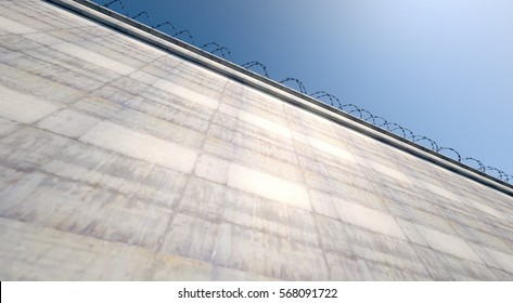 A 3D render of a massively high concrete security wall topped with barbed wire on a blue sky background