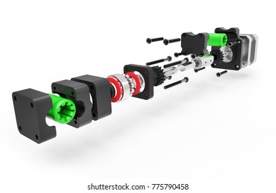 3d render mechanical model isolated on white background.