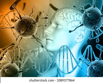 3D render of a medical background with male head, brain with virus cells and DNA strands