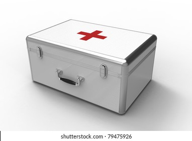 3d render of  medical suitcase on a white background