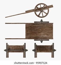 3d render of medieval cart