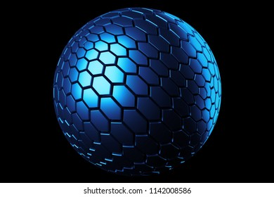3d render metal isolated  sphere. Displacement surface. Random patterns extruded from the metal sphere shape.