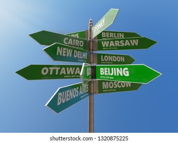 3D render of metal multidirectional roadsign indicating major world capitals with distances in kilometers