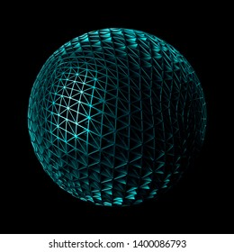 3d render metall background. Displacement surface. Random patterns extruded from the sphere shape.