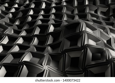 3d render metall background with reflections. Displacement surface. Random patterns extruded from the wavy shape.