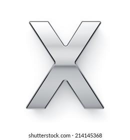 3d render of metallic alphabet letter symbol - X. Isolated on white background