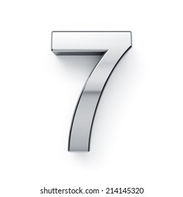 3d render of metallic digit symbol - 7. Isolated on white background