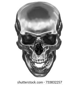 3D Render of metallic Human Skull