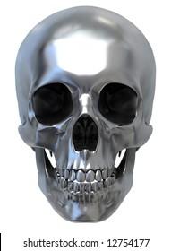 3d render of Metallic Skull. front view