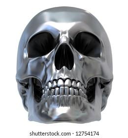 3d render of Metallic Skull. Low front view.