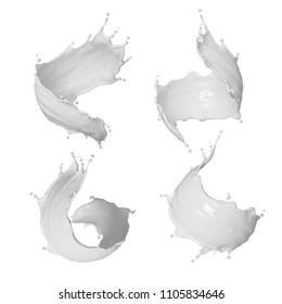 3d render, milk splash, white liquid splashing clip art, drink, cosmetics moisturizer lotion, cream, isolated design elements, cooking ingredients macro