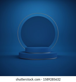 3d render. Minimal abstract background. Empty podium, vacant pedestal, modern stage, showcase. Round gold frame, cylinder steps, modern concept, blank space. Classic blue color of the year 2020