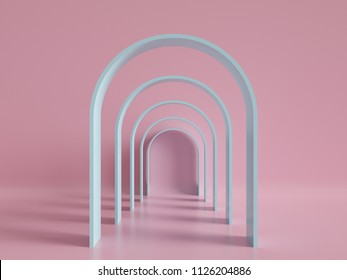 3d render, minimal fashion background, arch, tunnel, corridor, portal, perspective, pink mint pastel colors