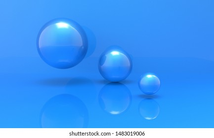 3d render, minimal fashion background. blue sphere balls on blue background