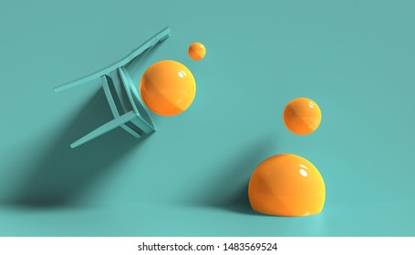 3d render, minimal fashion background. orange sphere balls on blue pastel background