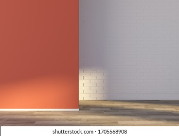 3d render, minimal interior, empty space with red pastel wall, white brick and wooden paquet floor. Sunlight. Background for a furniture,