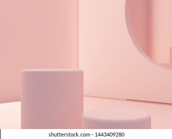 3d render. Minimal scene with podium to show a product. Pink pastel colors scene with geometrical forms and pink cylinder podium. platforms and stair in background. Elegant, trendy scene.