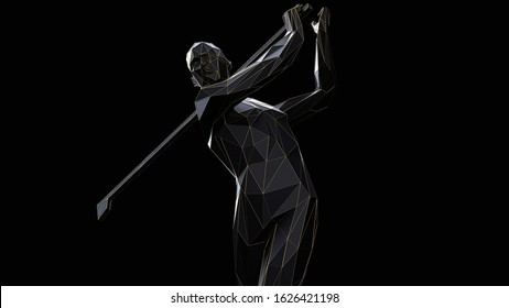 3d render minimalist low poly golf player with thin gold line on black background.