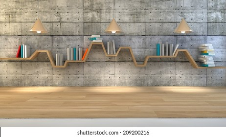 3d render of minimalist shelf over dramatic concrete background, modern art, minimalist design.