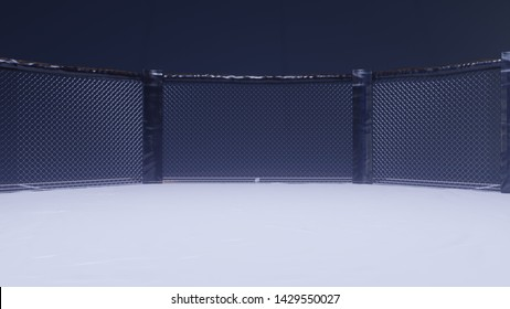 A 3d render of MMA arena fight cage under floodlights.