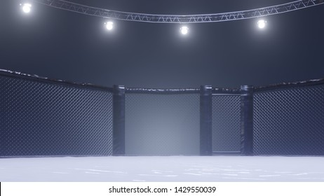A 3d render of MMA arena fight cage under floodlights