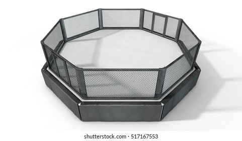 A 3D render of an MMA fight cage arena dressed in black padding on an isolated white studio background