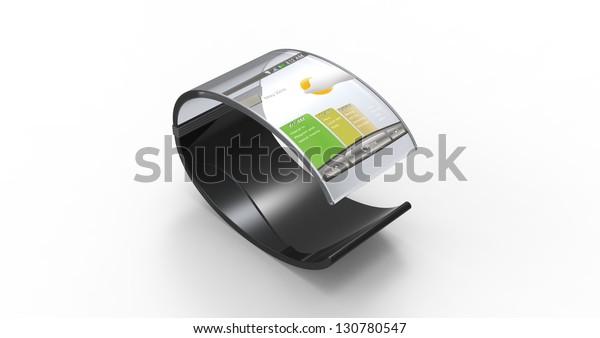 3d render of a mobile bracelet on a white background