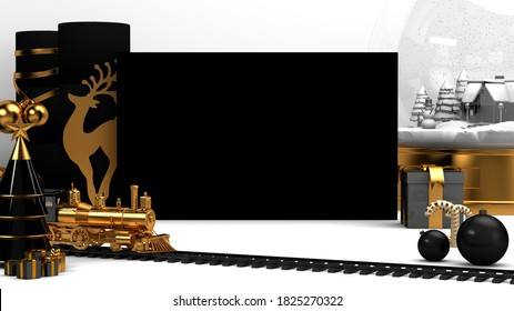 3D render mockup maps white background toy train Christmas tree gifts