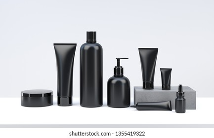 3d render mockup of men's cosmetic bundle for skin hair care. Black plastic bottles and tubes with black caps in row on white backdrop. Branding identity template.