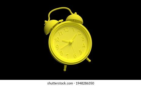 3d render model alarm clock yellow realistic