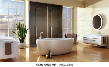 3D render of modern bathroom with big oval bath and double shower. Natural light from big windows with of of focus trees in background  and polished shiny brown wooden plank floor.