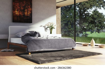 3D render of a modern bedroom