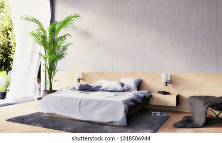 3D render of a modern bedroom with concrete wall