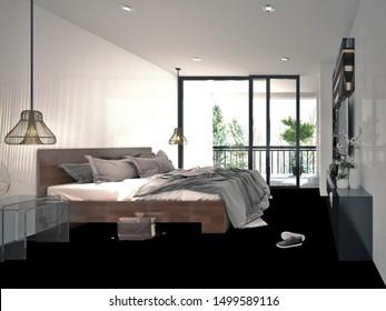 3d render. Modern bedroom interior with balcony.