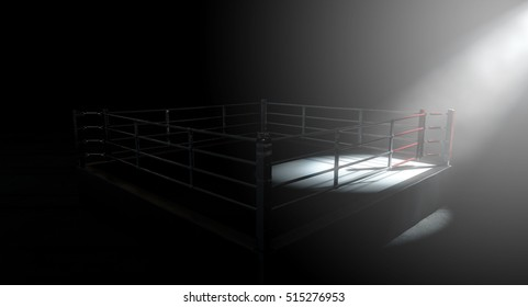 A 3D render of a modern boxing ring with a blue and red area spotlit dramatically on one corner on an isolated dark background