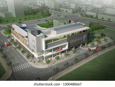 3D render of modern building. Architectural illustration.