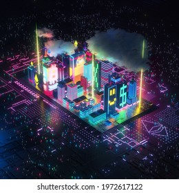 3D Render, A modern digital city with glowing colorful buildings with visible patterns of bitcoin ethereum cryptocurrencies