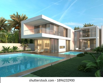 3d render. Modern exterior house scene with swimming pool.