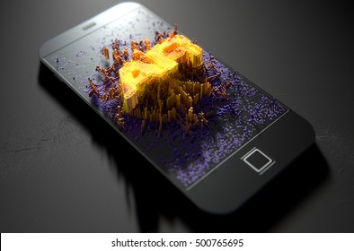 A 3D render of a modern generic smart phone screen emanating small pixels at random that build up to form and illuminate the word Augmented Reality