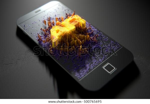 """Eine 3D-Darstellung eines modernen, generischen Smartphone-Bildschirms, der kleine Pixel nach dem Zufallsprinzip ausstrahlt, die sich aufbauen, um das Wort """"Augmented Reality"""" zu formen und zu erhellen"""