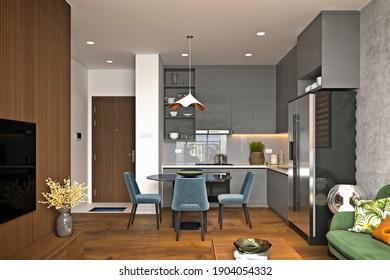 3d render of modern home interior, living room
