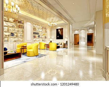 3D Render. Modern Hotel Lobby.