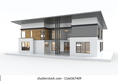 3d render of modern house isolated on a white.
