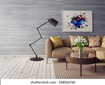 3d render. modern interior room with beautiful furniture.