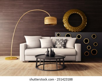 3d render. modern interior room with a beautiful furniture.