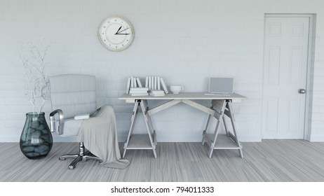 3D render of a modern interior in shades of white