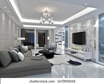 3d render. Modern living room interior.